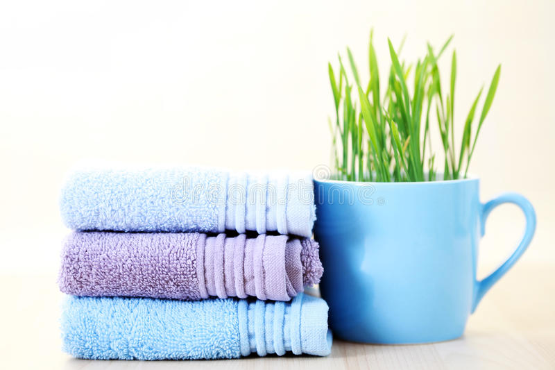 Stack of towels stock images