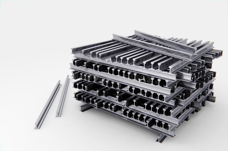 Stack of train rails - 3d illustration royalty free stock photo