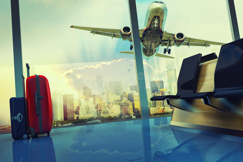Stack of traveling luggage in airport terminal vector illustration