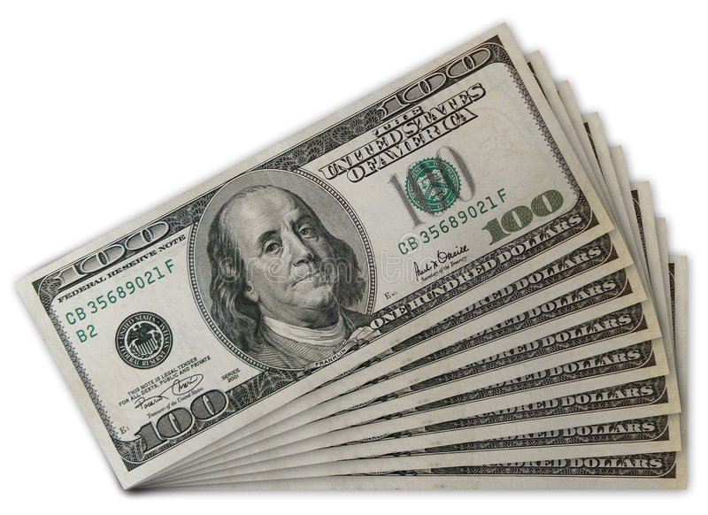 Stack of US 100 dollar bills royalty free stock photography