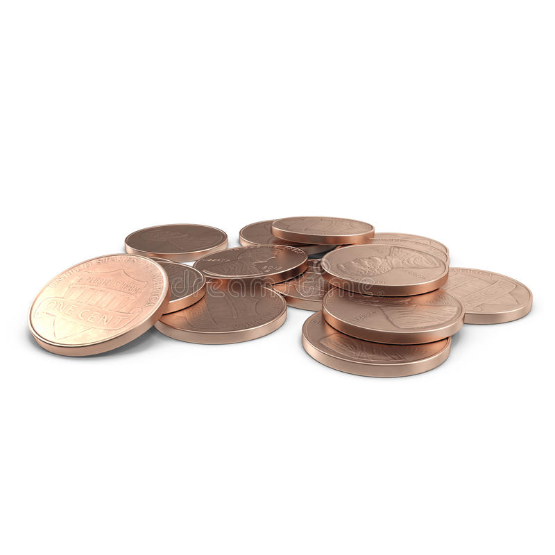 A stack of 1 US cent penny coins isolated on white. 3D illustration, clipping path. A stack of 1 US cent penny coins isolated on white background. 3D stock illustration