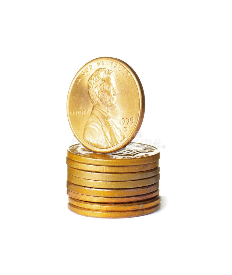 Stack of US coins isolated royalty free stock photo