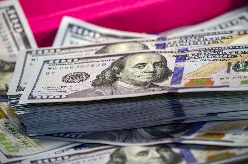 Stack Of Us Dollar Banknotes Close up macro stock images