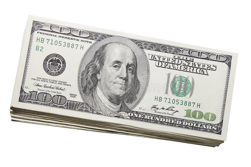 Stack of US One Hundred Dollar Bills Currency stock photos