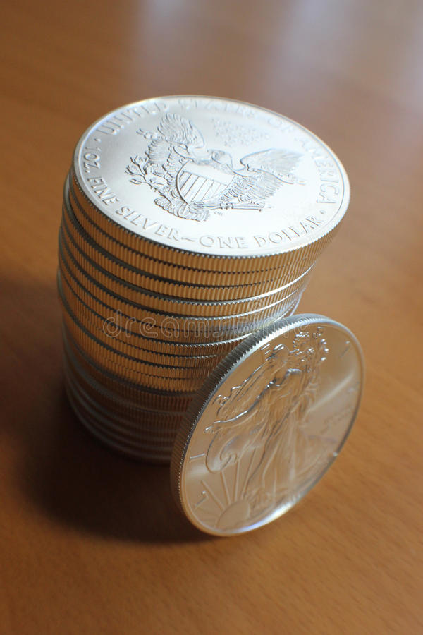 Stack Of Us Silver Eagle Coins Stock Image Image 25216911