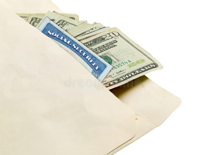 Stack of twenty dollar bills in envelope with social security card. Stack of used 20 dollar US currency bills or notes with social security card in an envelope royalty free stock images