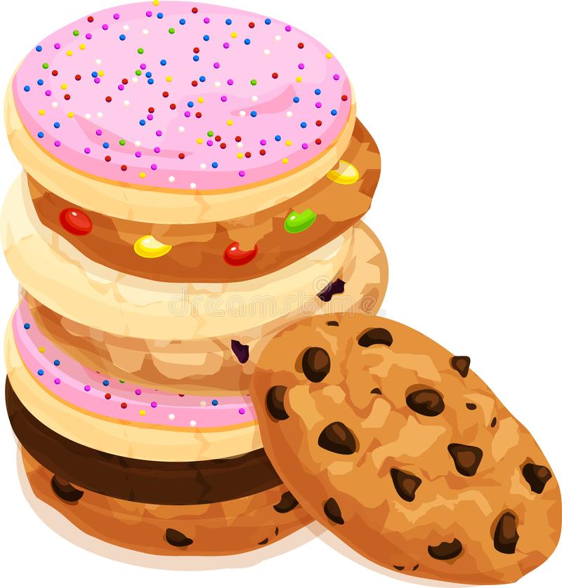Stack of Various Mixed Cookies. Chocolate Chip, Sugar, Iced and Frosted, Fudge. Isolated vector illustration. stock illustration