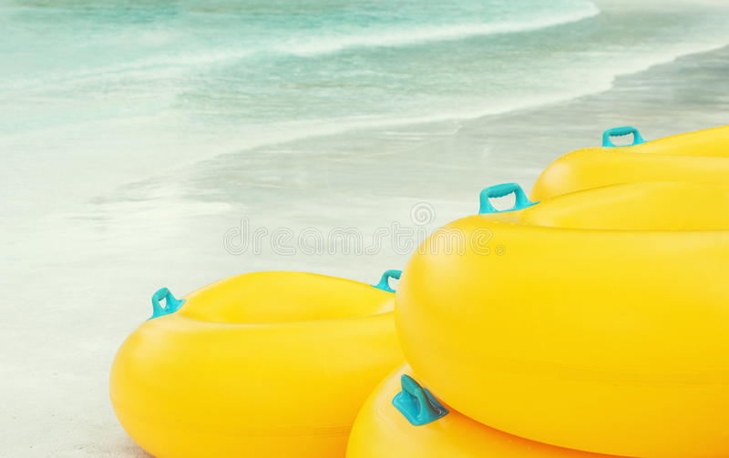 Stack Of Swimming Tubes On The Beach Stock Image Image