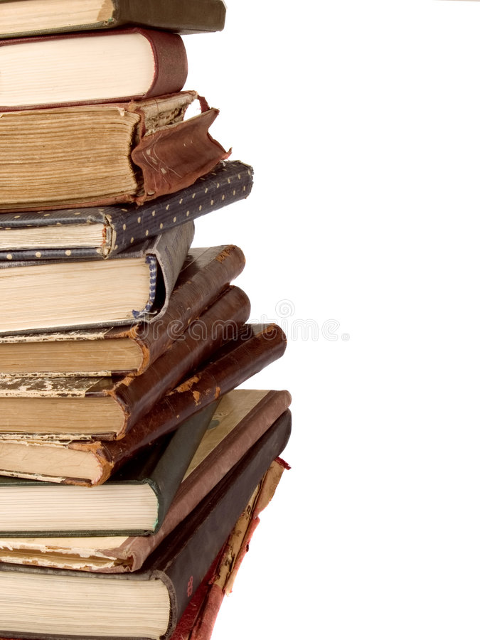 Stack of vintage books stock images