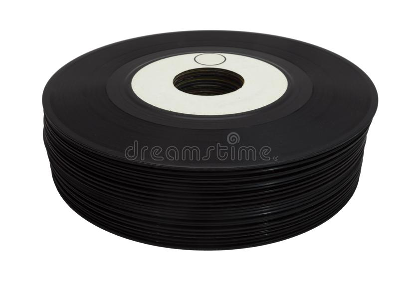 Stack of Vintage 45 rRPM Vinyl Record royalty free stock photography