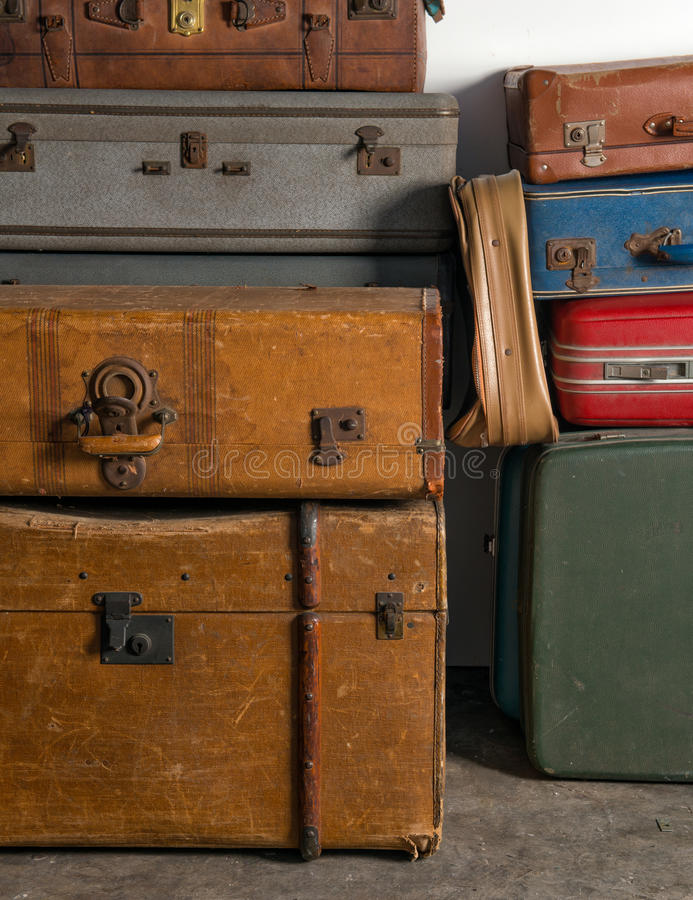 Download Stack Of Of Vintage Suitcases Stock Image - Image of case, handle: 28712213
