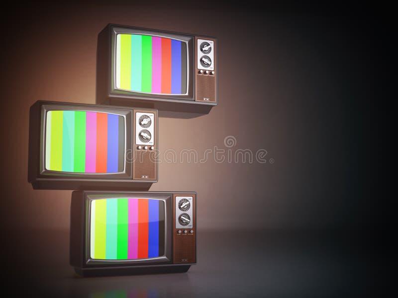 Stack of vintage tv set. Television background. 3d illustration royalty free illustration