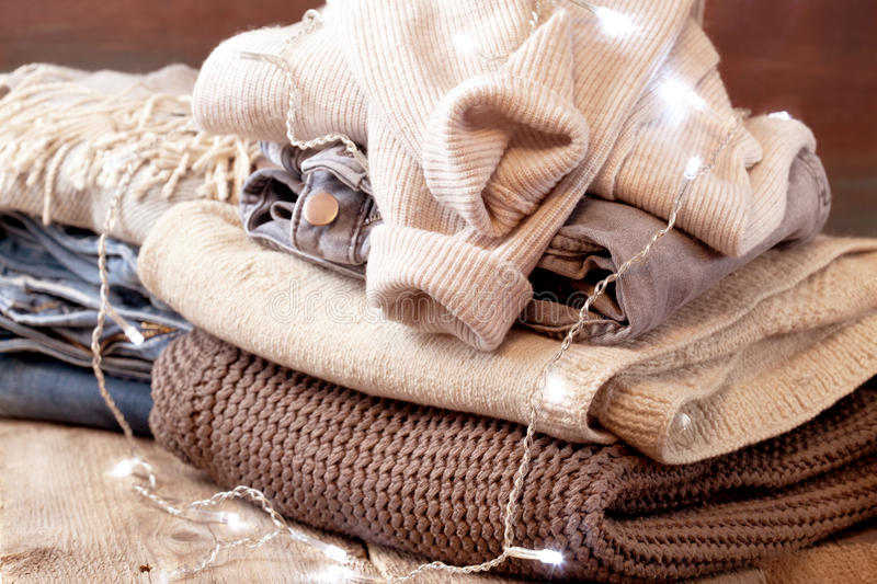 Download Stack of of warm clothes stock photo. Image of fabric - 83702508