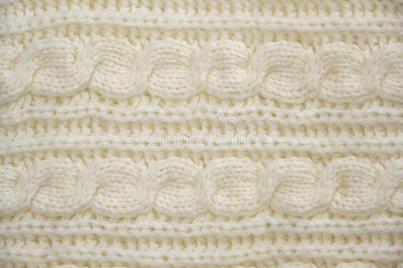 Stack of Warm knitwear close-up. Woolen knit texture as background royalty free stock photos