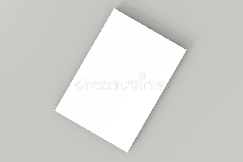 Stack of white blank A4 paper on gray background. High resolution 3d render. Personal branding mockup template. vector illustration