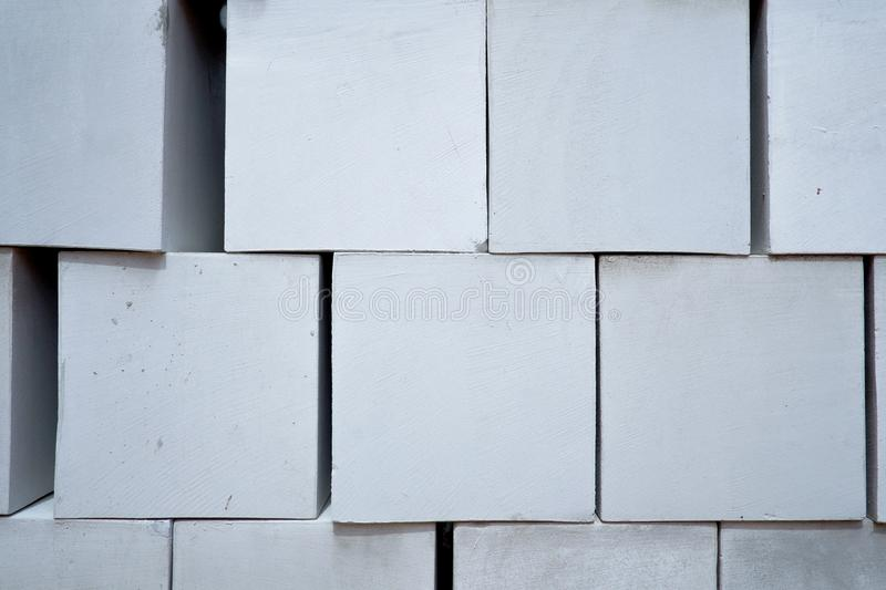 Stack of white cement brick royalty free stock photography