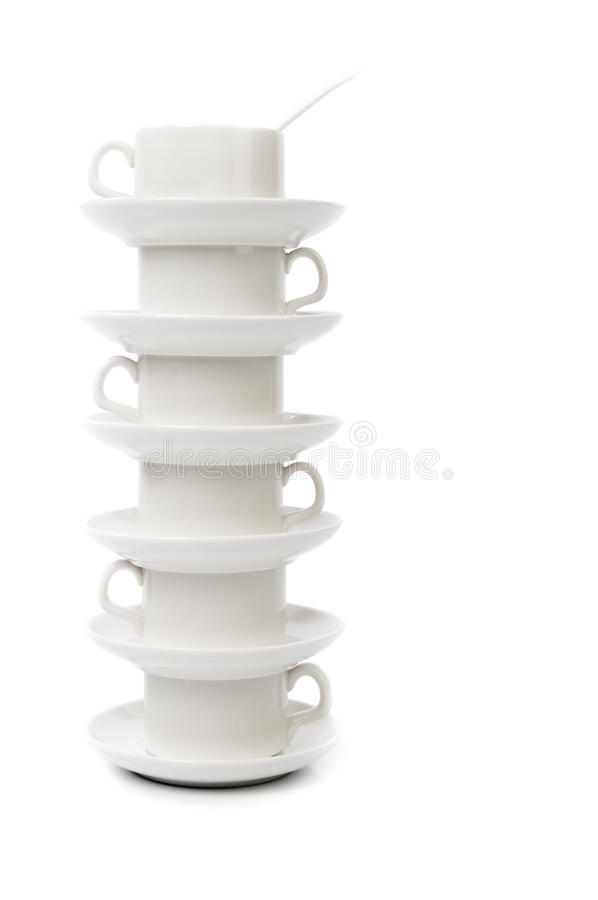 Stack of white coffee cups stock photo