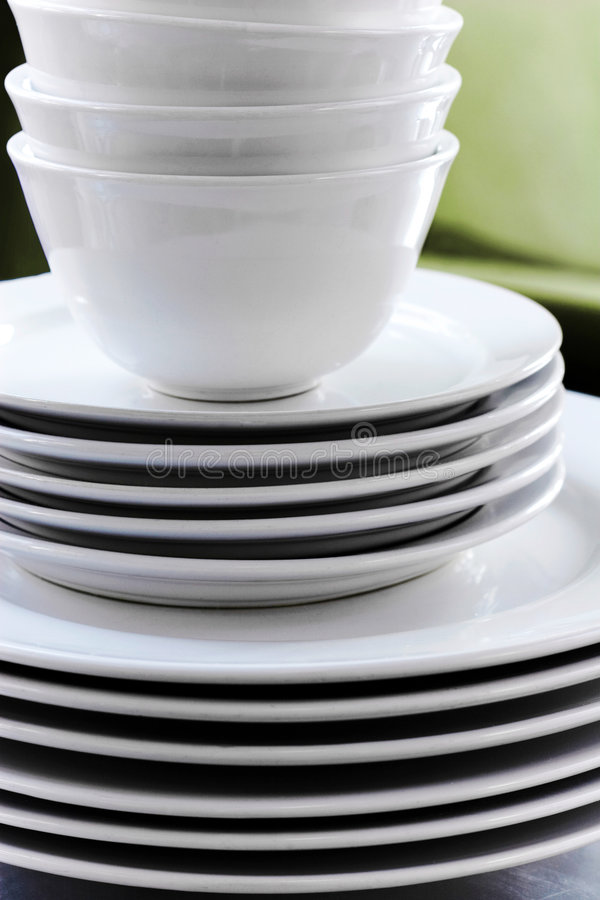 Stack of White Dishes stock image