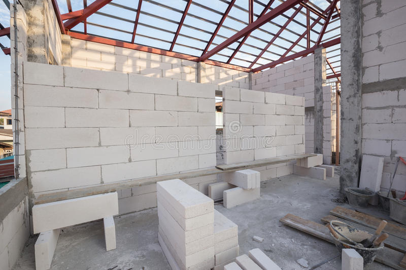 Stack of white Lightweight Concrete block, Foamed concrete block. White Lightweight Concrete block, Foamed concrete block, raw material for industrial wall or stock images
