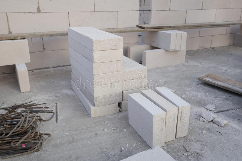 Stack of white Lightweight Concrete block, Foamed concrete block. Raw material for industrial wall or house wall royalty free stock image