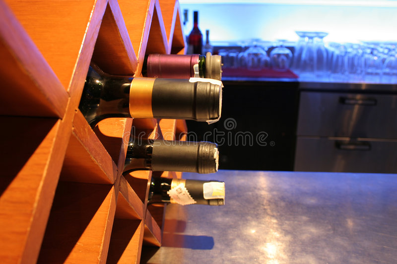Stack of wine at bar. Photograph of stack of wine at bar stock photo