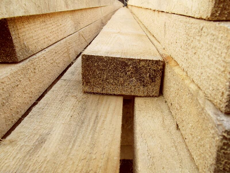 Stack of wooden boards. stock image