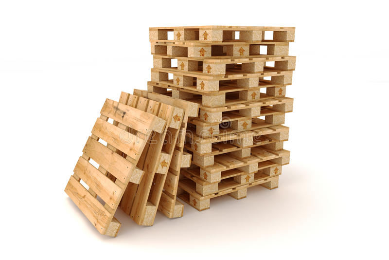 Stack of wooden pallets. stock photography