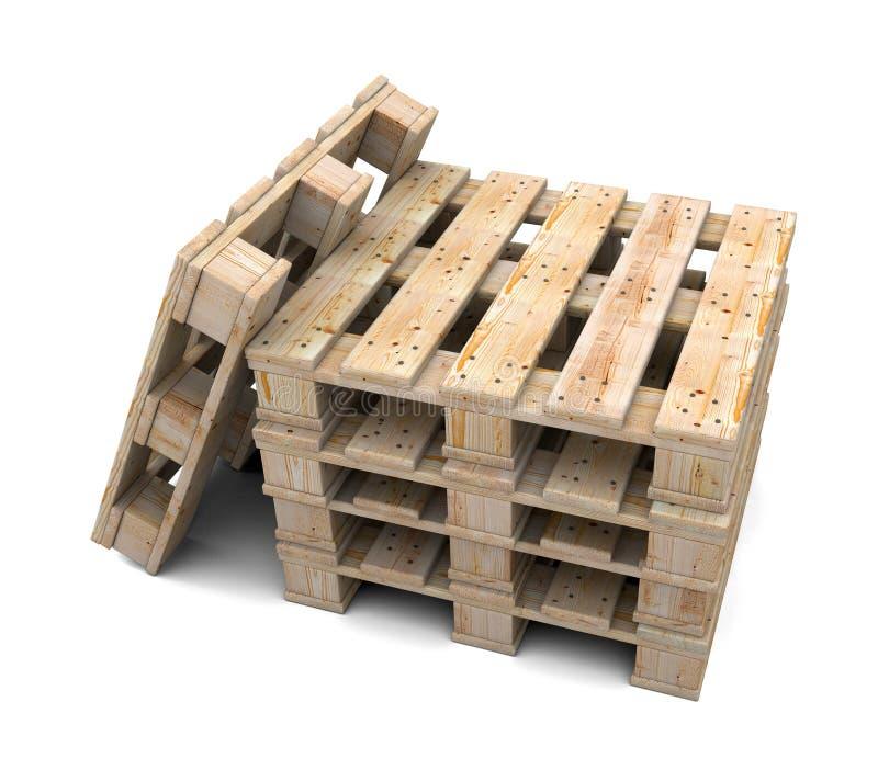 Stack of wooden pallets vector illustration