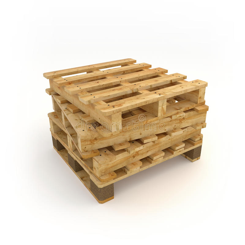 Stack of wooden pallets. On white background, in 3D stock image