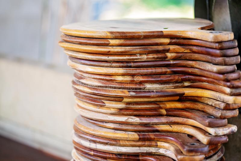 Stack Of Wooden Pizza Boards royalty free stock photos