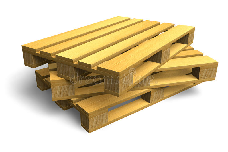 Stack of wooden shipping pallets stock illustration