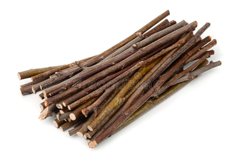 Stack of wooden twigs royalty free stock photo