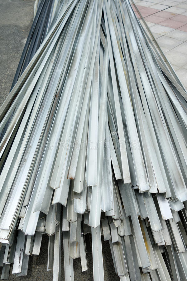 Stacked aluminum. On the construction site stock photos
