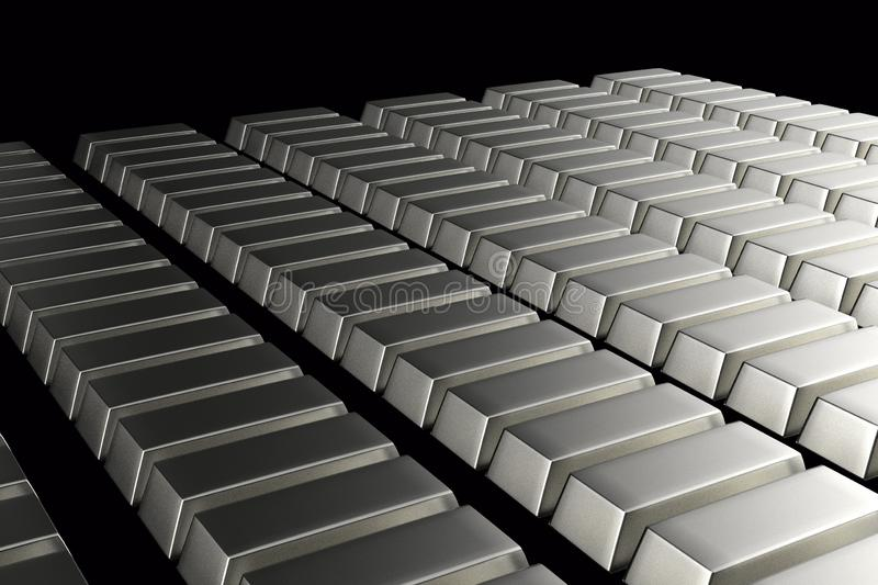 Stacked bars of silver bullion 3D.Financial concept. Stacked bars of silver bullion 3D render on black.Financial concept royalty free illustration