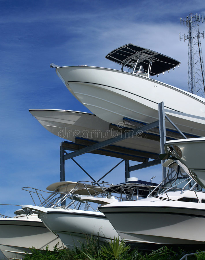 Stacked boats stock photography