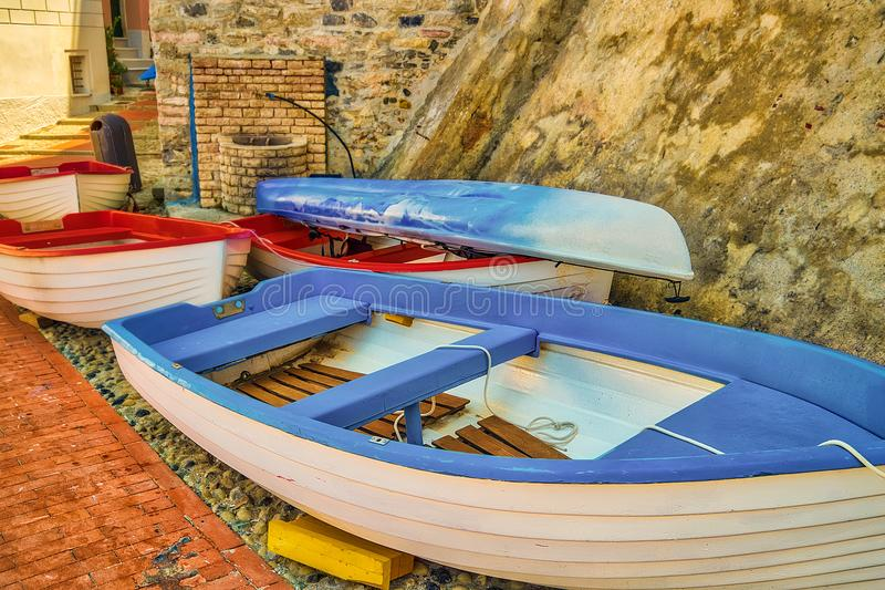Stacked boats in Cinque Terre royalty free stock photography
