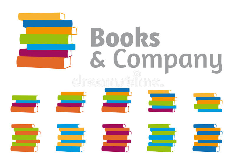 Stacked Books Company Logo Set royalty free illustration