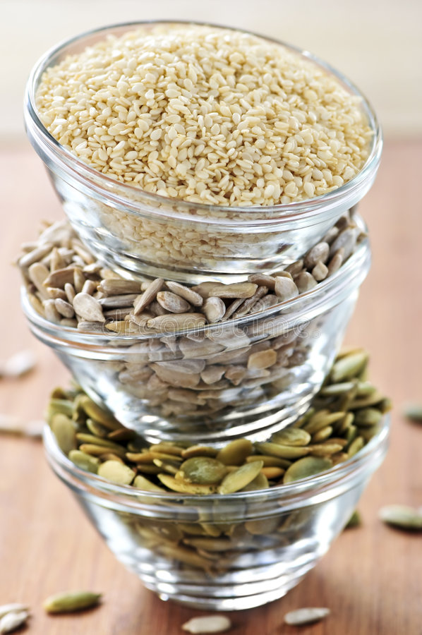 Stacked Bowls Of Seeds Royalty Free Stock Photography