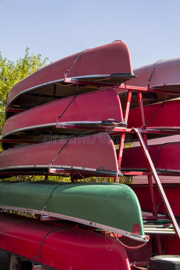 Stacked Canoes. Ready for use in America's waterways stock photos