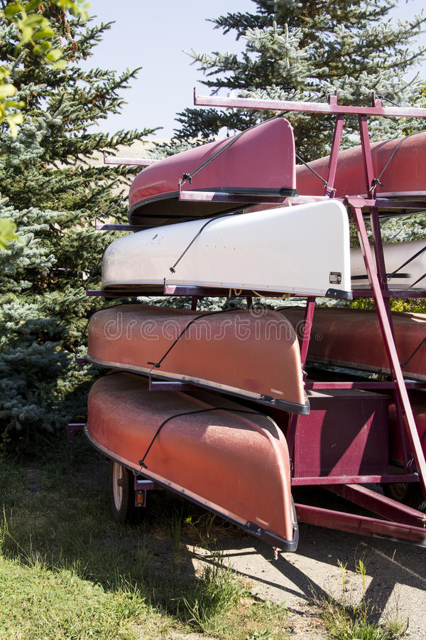 Stacked Canoes. Ready for use in America's waterways royalty free stock images