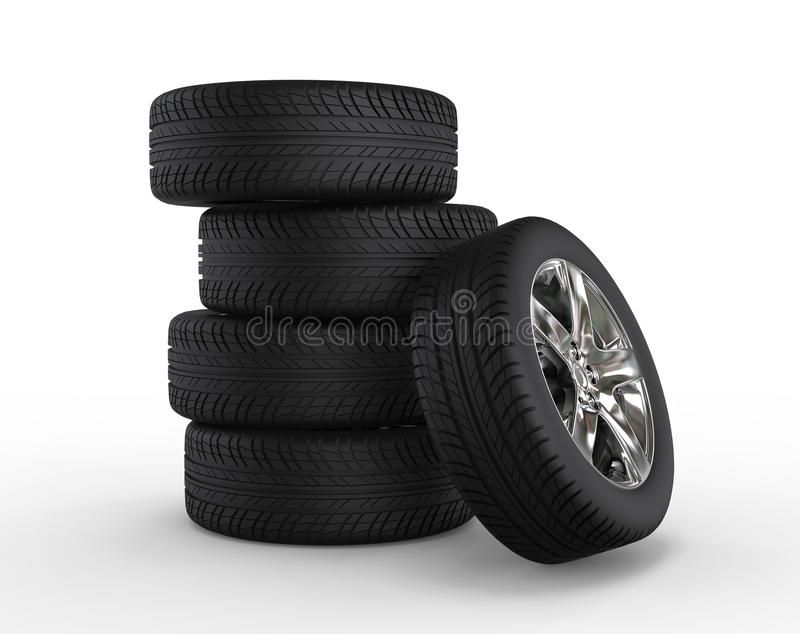 Stacked car wheels and tires. Isolated on white background vector illustration