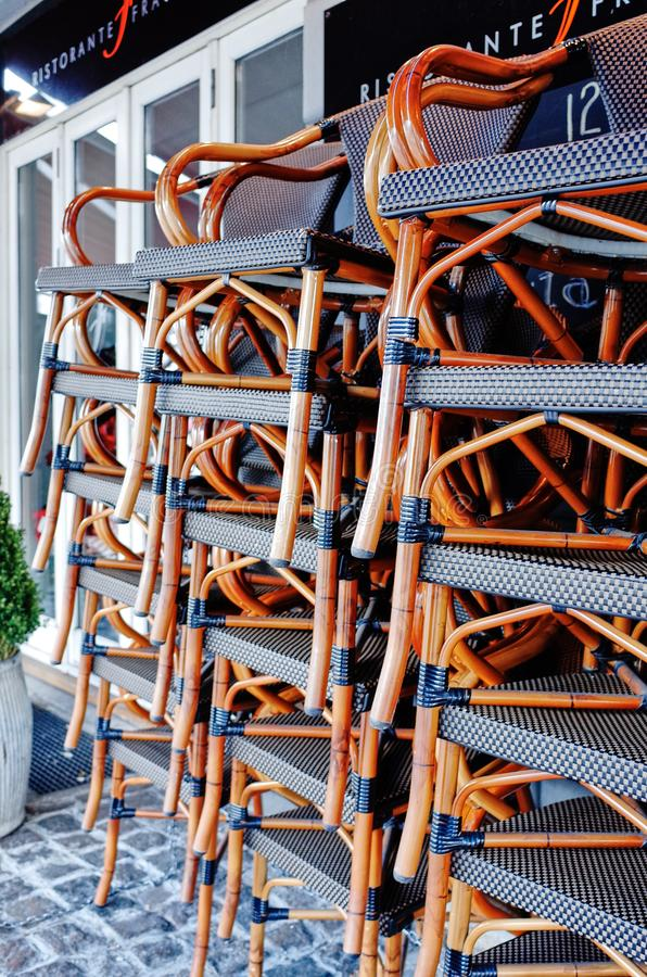 Stacked chairs in front of a restaurant at Vesterbrogade stock photos