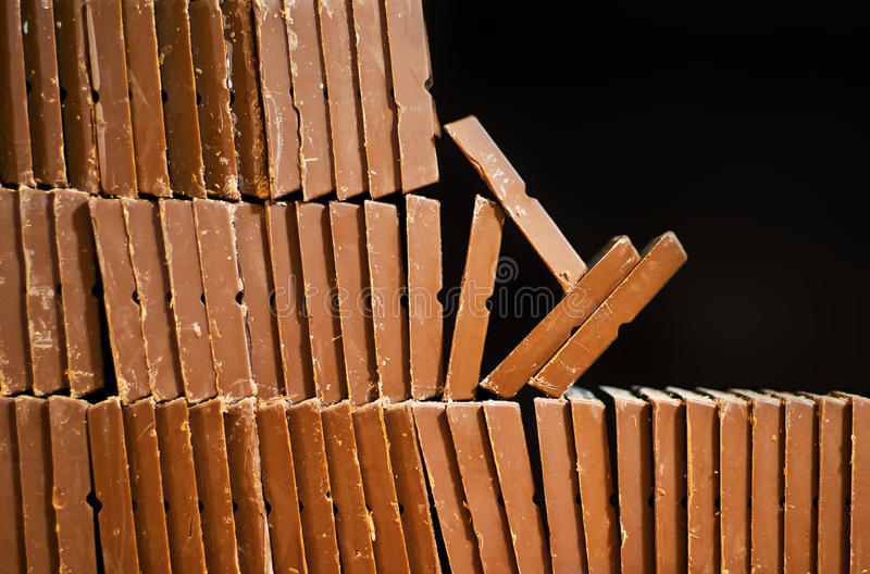 Stacked chocolate bars royalty free stock images