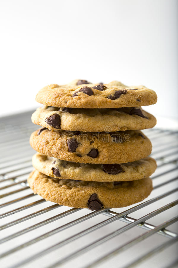 Free Stacked Chocolate Chip Cookie And Cooling Rack Royalty Free Stock Images - 72627849