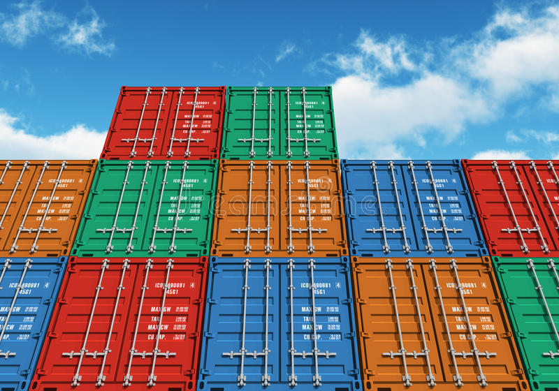 Stacked color cargo containers over the blue sky. With clouds royalty free illustration