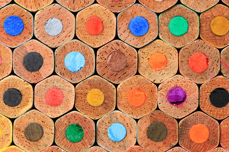 Stacked color pencils close up. Shot showing different colors royalty free stock image