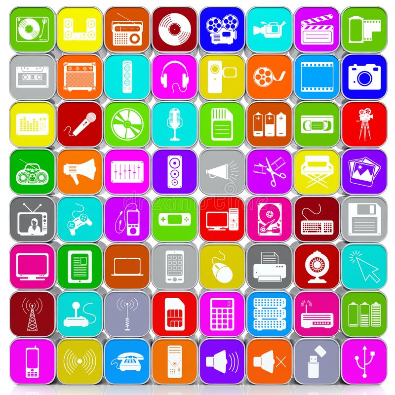 Stacked and Colored 64 3D Multimedia Icons Background royalty free illustration
