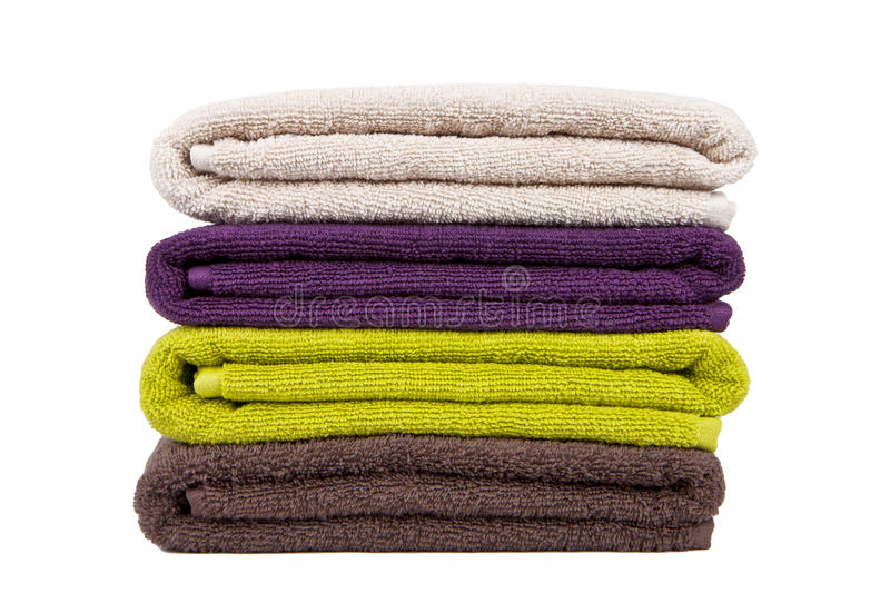 Download Stacked colorful towels stock image. Image of green, drying - 17363181