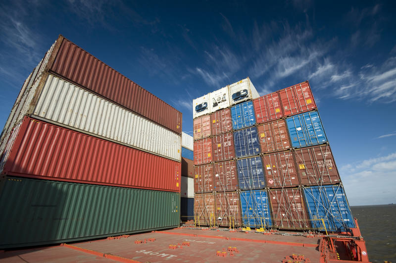 Stacked Containers on deck of a container ship. royalty free stock image