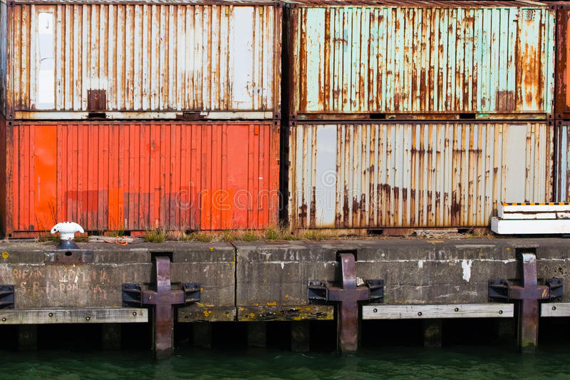 Stacked containers in port